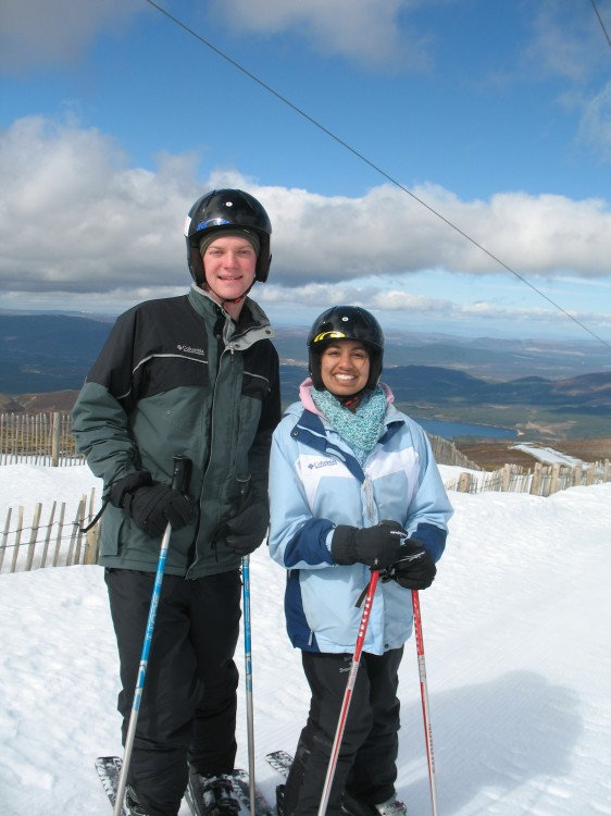 Mike and Heena Skiing