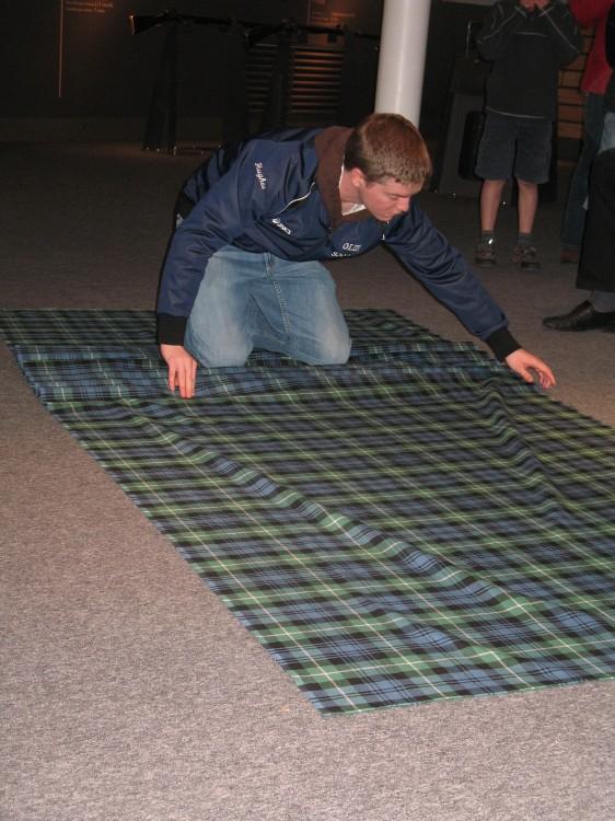 Mike Folding a Kilt